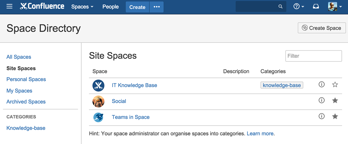 Confluence Space Directory